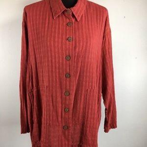 Yasuko Kurisaka Jacket One Size OS Red Long Sleeve